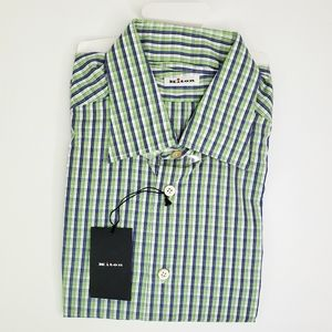 KITON NWT Plaid Cotton Button Down Shirt Large